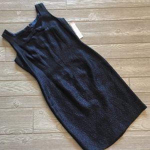 NWT - Donna Morgan Metallic Blue Sheath Dress - 10
